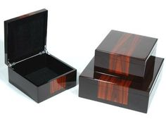 LUXE Rosewood Inlay Black Lacquer Jewelry Box $195 Glamorous Hollywood Gift Ideas From InStyle-Decor.com Beverly Hills Enjoy