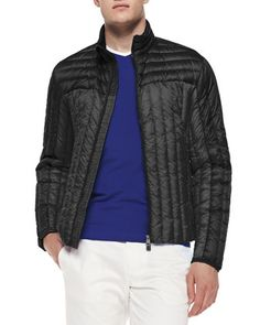 Quilted Zip-Front Jacket, Black by Moncler at Neiman Marcus.