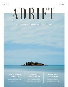 hiring poster design Adrift Island Travel Magazine - Templates by Canva Magazine Cover Layout, Magazine Layout Design, Magazine Layouts, Front Page Magazine, Magazine Back Cover, Editorial Design Magazine, Magazine Design Inspiration, Layout Inspiration, Graphisches Design