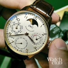 No PhD in horology required to set this rose gold IWC Portuguese perpetual calendar