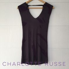Charlotte Russe Draped Back top Gray with purple paint swipes, draped back top from Charlotte Russe. EUC, very gently worn. 100% rayon Charlotte Russe Tops Tank Tops