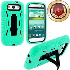 Amazon.com: myLife (TM) Light Mint Green + Black Armor Series (Durable Built in Kickstand Urban Body Armor Glove) for Samsung Galaxy S3 GT-i...