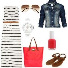 Stripes Maxi dress with denim jacket and fun colorful bag - not strapless though