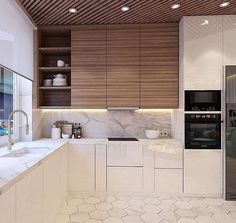 Modern Kitchen Interior find the best protester kitchen design ideas Kitchen Wall Tiles, Modern Kitchen Cabinets, Kitchen Cabinet Design, Modern Kitchen Design, Kitchen Flooring, Interior Design Kitchen, New Kitchen, Kitchen Decor, Cabinet Decor