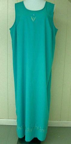 Women's Size 1X Turquoise Sleeveless Poly Rayon Tulip Embroidered Long Dress  #teddi #Maxi