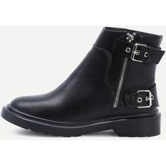 Black Buckle Strap Side Zipper Low Heel Boots (125 BRL) ❤ liked on Polyvore featuring shoes, boots, black, kohl shoes, small heel boots, chunky black boots, short heel shoes and black boots