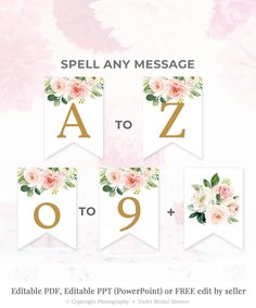Bridal shower banner printable fonts 27 ideas for 2019 Pink Gold Party, Pink And Gold, Blush Pink, Welcome Home Banners, Printable Banner Letters, Bridal Bouquet Fall, Floral Banners, Shower Banners, Ppr