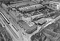 Berlin 1930 Dragoner Kaserne Luftbildaufnahme aus nordoestlicher Richtung (links die Belle-Alliance-Strasse heute Mehringdamm und rechts die Teltowerstrasse heute Obentrautstrasse)
