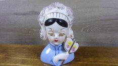 Vintage Irice Import Porcelain Geisha Girl Head Vase w/Fan | Etsy