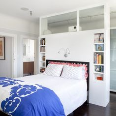 Floating Wall With Closet Behind Bedroom Design Ideas, Pictures, Remodel and Decor