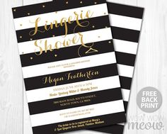 Lingerie Shower Invitation Black White Gold Stipe Heart Invite