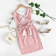To find out about the Lace Overlay Plunging Halter Dress at SHEIN, part of our latest Dresses ready to shop online today! Casual Summer Dresses, Trendy Dresses, Cute Dresses, Short Dresses, Girls Fashion Clothes, Teen Fashion Outfits, Fashion Dresses, Stylish Work Outfits, Pretty Outfits