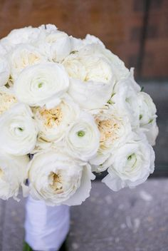 White ranunculus and garden rose bouquet