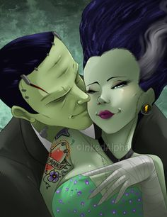 Finished fully colored piece of Frankenstein and his gorgeous bride! Will be selling this at next Friday's Alamo city comic con, enjoy!~♥ ©The Bride of Frankenstein Art by inkedalpha