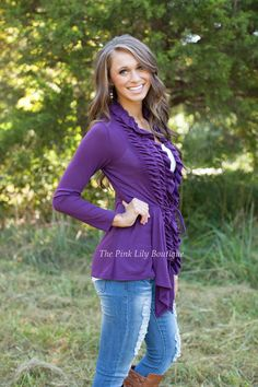 The Pink Lily Boutique - Plum Ruffle Cardigan , $39.00 (http://thepinklilyboutique.com/plum-ruffle-cardigan/)