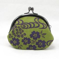 Small Coin Purse Floral Stream Olive Green