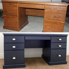 Before and after teen boys bedroom makeover rustoleum spray painted desk. Painting laminate only requires that you lightly sand with sandpaper to de-gloss the finish - and remove any scratche (Diy Furniture Before And After) Bedroom Makeover Before And After, Room Makeover, Boys Bedroom Makeover, Painted Desk, Desk Makeover, Redo Furniture, Refurbished Furniture, Bedroom Makeover, Boys Desk