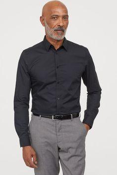 Slim Fit Easy-iron Shirt - Black - Men | H&M US