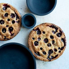 Blueberry Pie with Rye Crust : This sensational blueberry pie has small circles cut out of the rye crust, which not only looks dramatic but also allows moisture to evaporate from the fruit filling as it cooks, deepening the flavor.