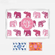 Chiang Mai Elephant Monogrammed Lucite Serving Tray from Shelby Dillon Studios. For all your colorful home style needs, shop ShelbyDillonStudios.com.