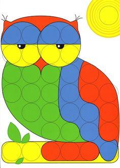 dlja mosaiki - Aleiga V. Craft Activities For Kids, Math Activities, Games For Kids, Art For Kids, Crafts For Kids, Owl Clip Art, Owl Art, Paper Flowers Craft, Flower Crafts