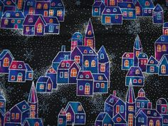 WINTER HOLIDAY houses by Hoffman fabrics in by vintageinspiration, $7.00