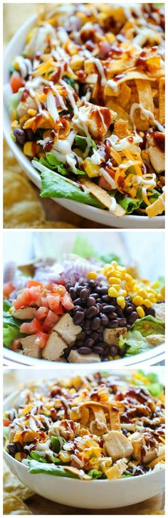 BBQ Chicken Salad - This healthy, flavorful salad comes together so quickly, and it's guaranteed to be a hit with your entire family! This healthy, flavorful salad comes together so quickly, and it is guaranteed to be a hit with your entire family! New Recipes, Dinner Recipes, Cooking Recipes, Favorite Recipes, Healthy Recipes, Recipies, Soup Recipes, Fast Recipes, Bread Recipes