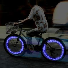 'I Love You' Message bike tyre lights - Go & Glow Bike Lights For Biking Nights.