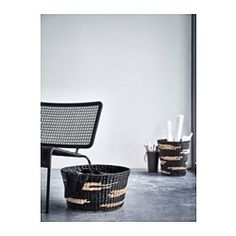 VIKTIGT Korb, schwarz, naturfarben - IKEA