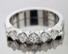 0.70 Cttw F VS Princess Cut Diamonds 5 Stone Wedding Band in 14K White Gold #WithDiamonds