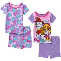 Paw Patrol Toddler Girl Cotton Tight Fit Short Sleeve Sleep Set, 4-Pieces
