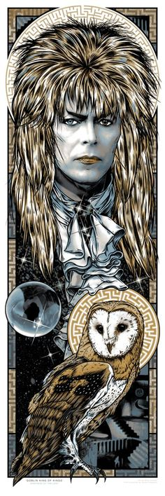 'GOBLIN KING OF KINGS' LABYRINTH Jareth art print Featured at Gallery 1988's '30 years Later' art show. 6 colour silkscreen pos...