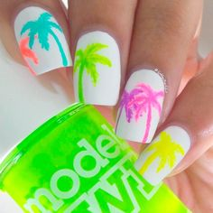 Neon on white tropical nails <3