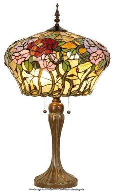 klassische TIFFANY-Tischlampe CROWN.  Etwas ganz Besonderes !!! ca. 72 cm hoch, 40 cm ø, 2x E-27, je max. 60 W.  ...besteht aus vielen einzelnen hochwertigen Stained-Glass-Teilen, sorgfältig ausgesucht und liebevoll hand gefertigt.