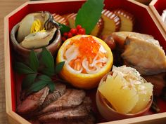 Foods prepared for New Year's in Japan. おせち Bento Osechi