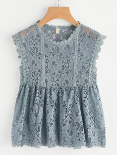 Shop Scalloped Trim Lace Smock Top online. SheIn offers Scalloped Trim Lace Smock Top & more to fit your fashionable needs.