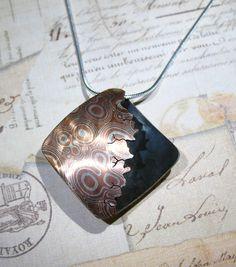 Sterling Silver and Copper Mokume gane Pendant by Utinni.deviantart.com on @deviantART