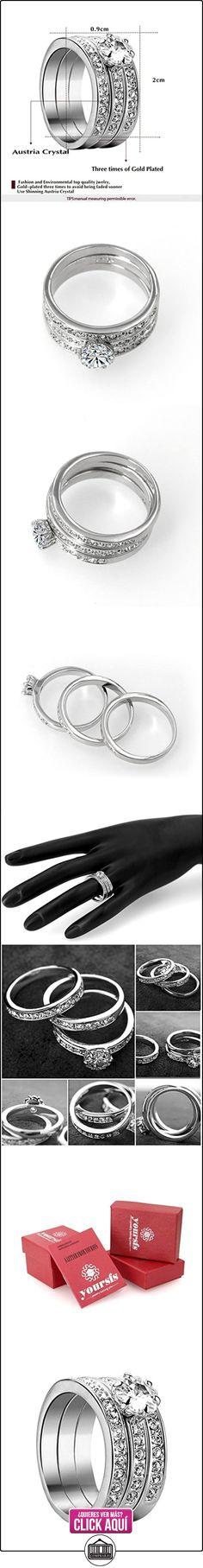 Yoursfs - Anillo Elegante Chapado en Oro blanco 3-en-1 de Circonio Cúbico para mujeres  ✿ Joyas para mujer - Las mejores ofertas ✿ ▬► Ver oferta: https://comprar.io/goto/B01FLTURT8