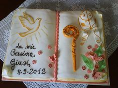torta-cresima Confirmation Cakes, First Communion Cakes, Book Cakes, Daughter Of God, Tableware, Creative, Party, Desserts, Prayer