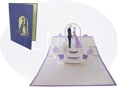 Unsere Hochzeitskarte mit Brautpaar bei Trauung in lila. Mehr entdecken auf: www.lin-popupkarten.de