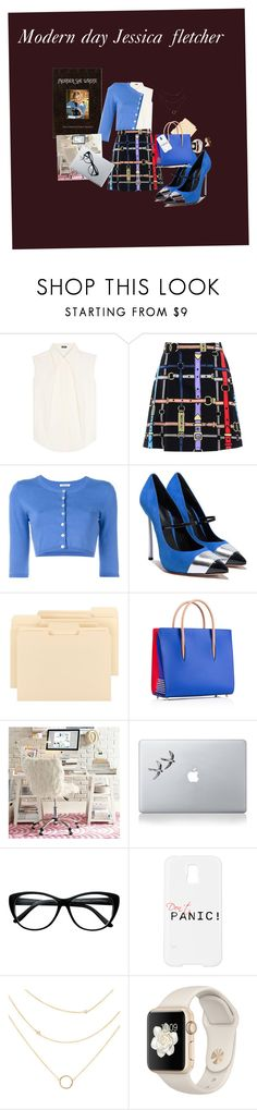 """Modern day Jessica fletcher"" by hayden-hayden ❤ liked on Polyvore featuring Jil Sander Navy, Love Moschino, P.A.R.O.S.H., Smead, Christian Louboutin, PBteen, Vinyl Revolution, Samsung and modern"