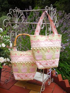 """""""Pom-Pom-Patty"""" by Sally Giblin of The Rivendale Collection. Finished bag size: 12"""" x 18"""" #TheRivendaleCollection stitchery, appliqué and patchwork patterns. www.therivendalecollection.com.au"""