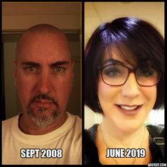 Photo on left was the day I decided to transition at 46 y/o. Didn't know how, but I knew I would. 11 years later, age 57 and pretty happy about it! Fought and beat cancer in between too! : transtimelines