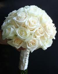 Love this bouquet of white roses & the vintage style ribbon wrap White Rose Bouquet, Rose Wedding Bouquet, Bridesmaid Flowers, Bride Bouquets, Wedding Flowers, White Flowers, Rose Boquet, Rose Corsage, Flower Bouquets
