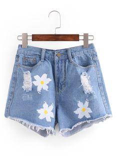 Ripped Flower Print Blue Denim Shorts