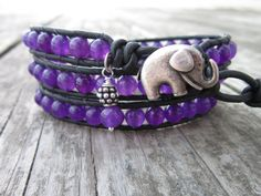 Good Luck Elephant & Amethyst Leather Wrap by NoliePolieOlies, $36.00