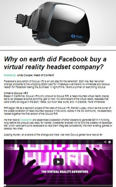 Why does Mark Zuckerberg think Virtual Reality could be the next big platform? #InsideSocial
