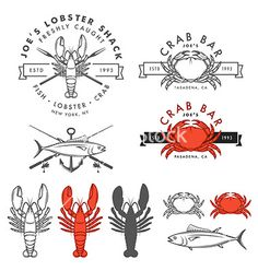 Set of retro seafood design elements vector by ivanbaranov on VectorStock®