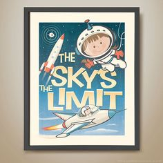 Astronaut child drawing with the words The Sky's The Limit
