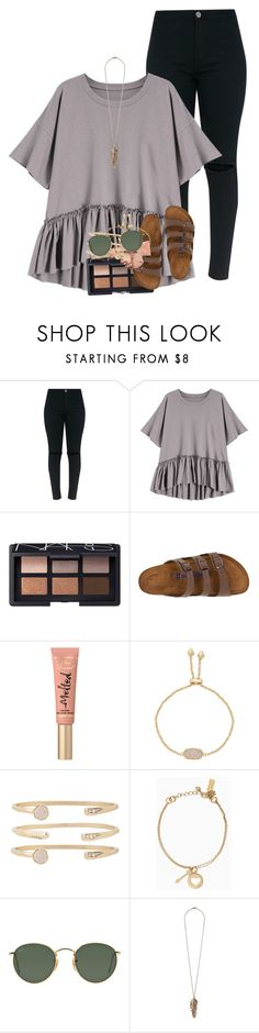"""""""just got my pink drink!!"""" by emilyandella ❤ liked on Polyvore featuring NARS Cosmetics, Birkenstock, Stila, Too Faced Cosmetics, Kendra Scott, Kate Spade, Ray-Ban and Forever 21"""